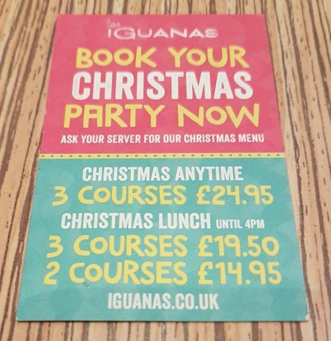 Las Iguanas Christmas deals