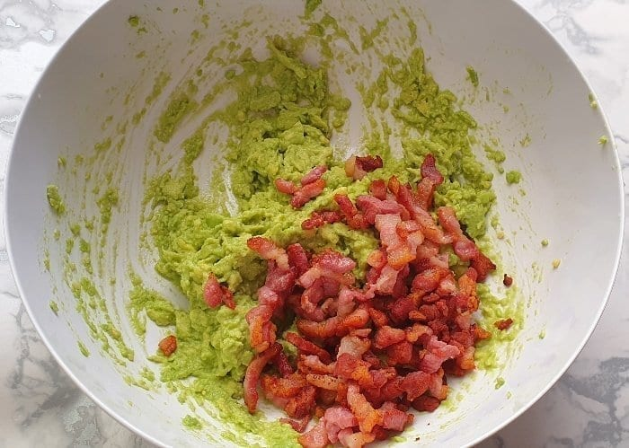 Avocado and Bacon in a bowl