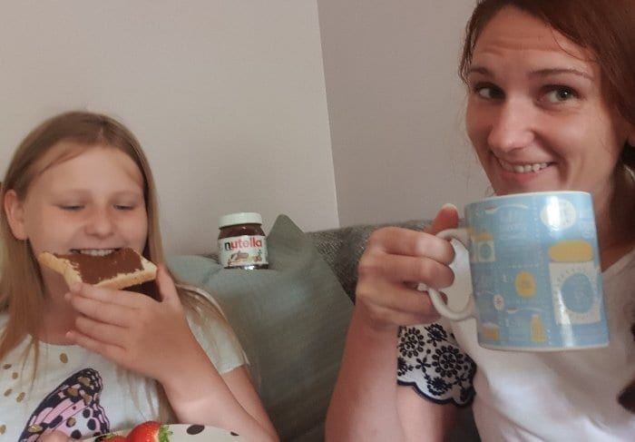 Family Breakfast with nutella