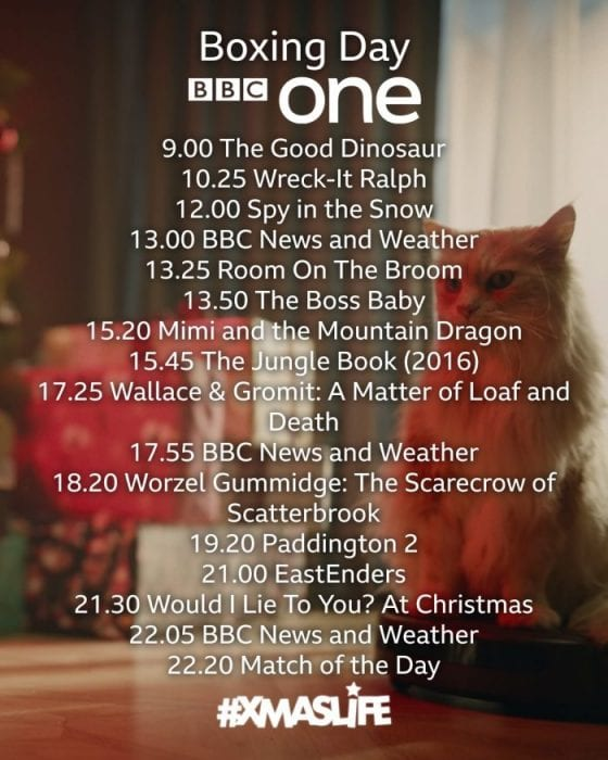 BBC One Boxing Day TV