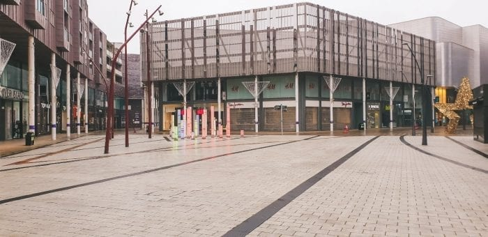 Bury town centre during lockdown