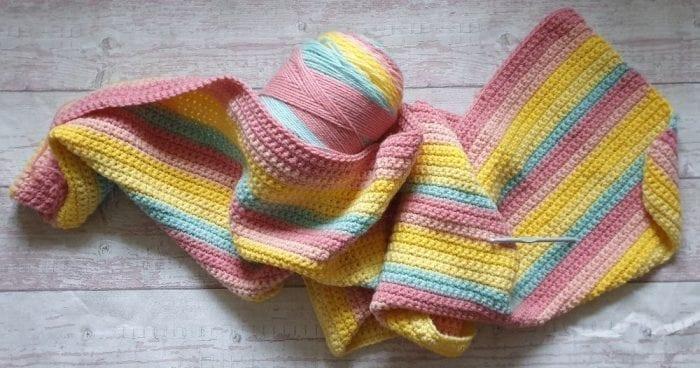 Yellow crochet blanket