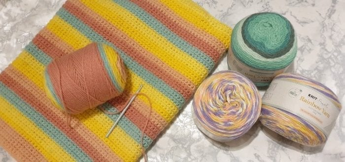 Yellow mix crochet blanket